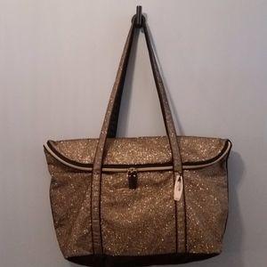 Victorias Secret Gold Glitter Weekender Bag